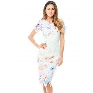 AX Paris Blue Lace Printed Midi Dress